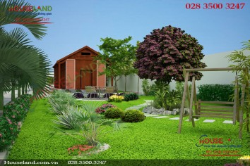 Mẫu biệt thự nhà vườn 2 tầng đẹp phong cách hiện đại
