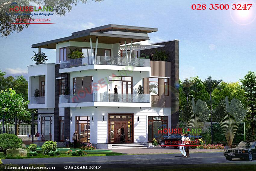 Mẫu thiết kế biệt thự 150m2 hiện đại 3 tầng