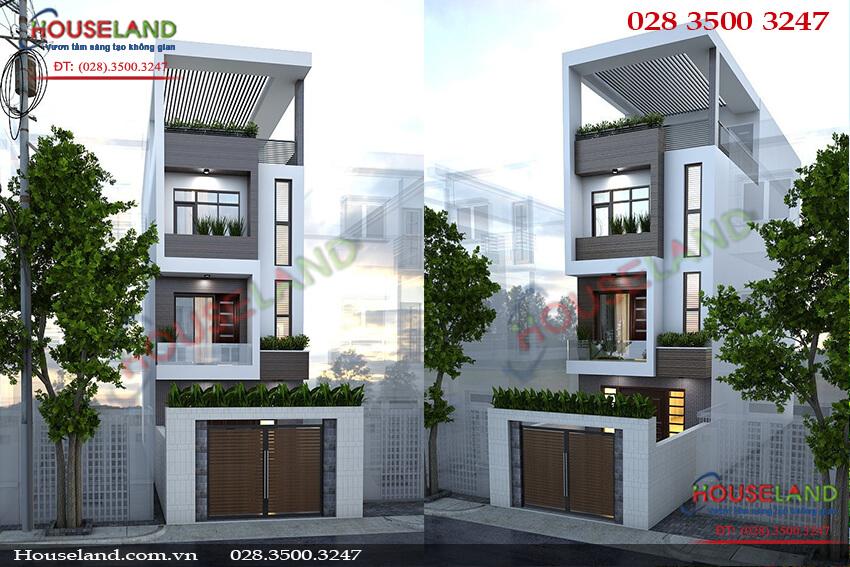 Mẫu thiết kế nhà phố 3 tầng 1 tum kiến trúc hiện đại