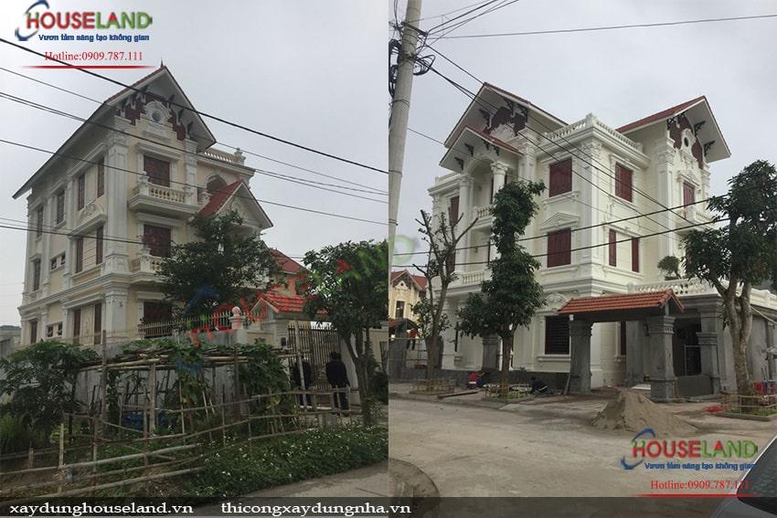 Thi công biệt thự cổ điển 3,5 tầng ở Quảng Bình