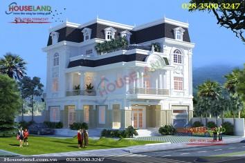 Mẫu thiết kế biệt thự 3 tầng 15x20m phong cách cổ điển Pháp